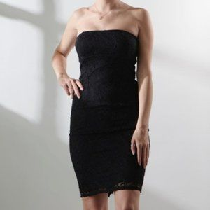 NWOT JUMP Strapless Lace Black Bodycon Dress